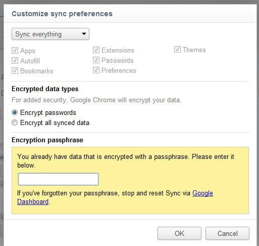 Pass Phrase to Customize Data in Chrome