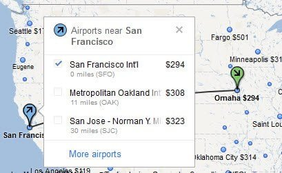 Price list of nearby Airport Google Flight Search
