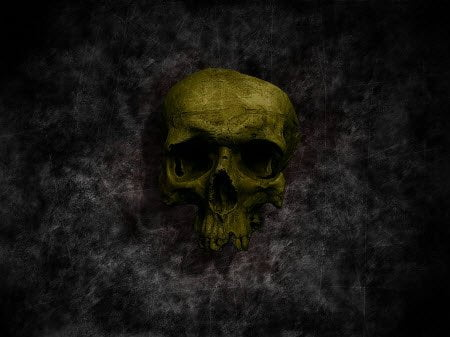 Green Skull : Scary Halloween Wallpaper