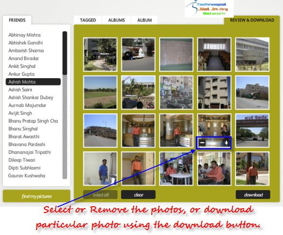 Select or remove photos from the download list PicknZip