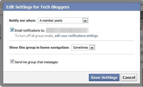 Settings for Facebook group