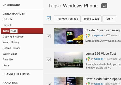 Tag List View in YouTube