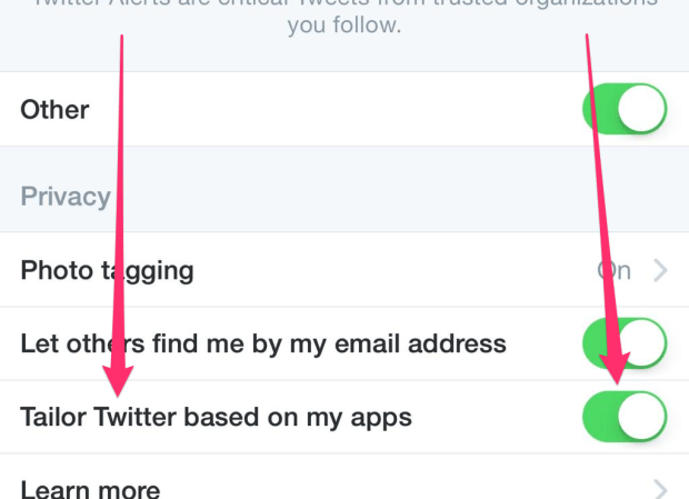 Twitter Tailored Tweet Option