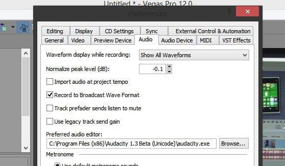 Using External Audio Editor in Sony Vegas Pro