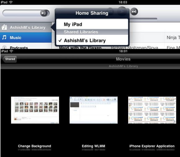 WHS Shared Libraries on iPad