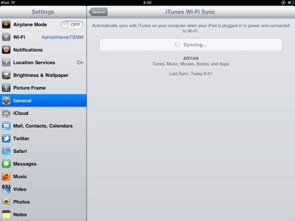 Wifi Sync in iPad
