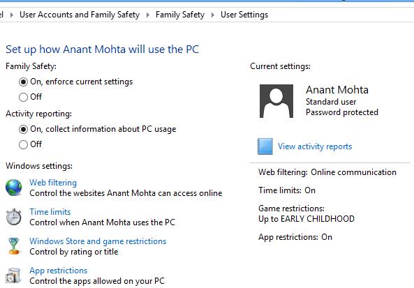 Windows 8 Parental Control Options