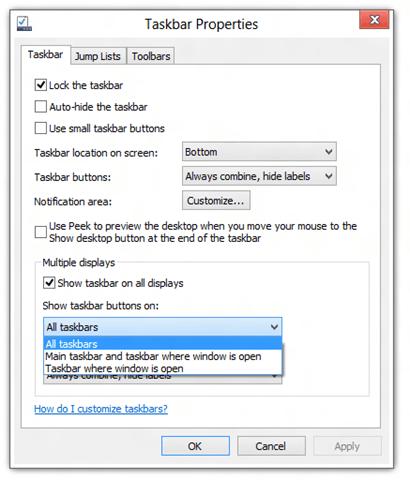 Windows 8 Taskbar Properties