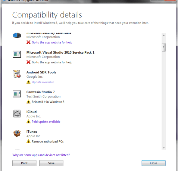 Windows 8 Upgrade Advisor Recomendation