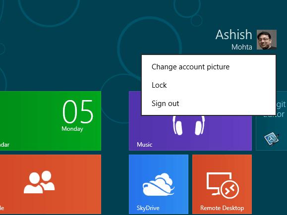 Windows 8 User menu