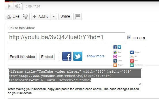 YouTube HD Video URL
