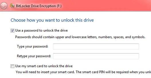 Bitlocker password protect