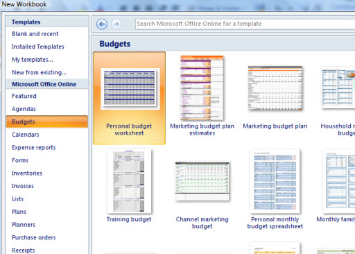 Download excel templates from Office