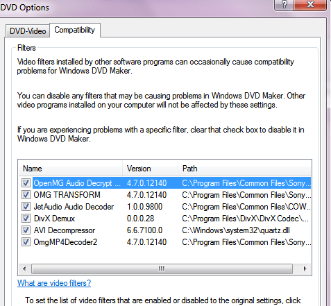 Set up right compatibility mode by disabling filters