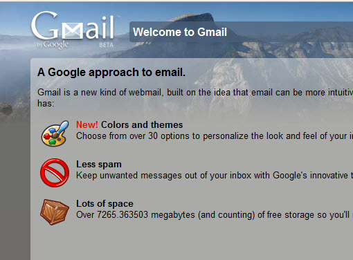 Themed Home Page for Gmail