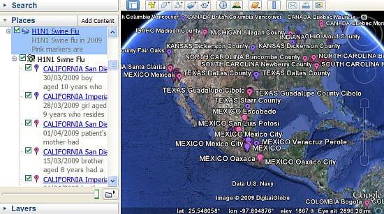 H1N1 Swine Flu on Google Earth