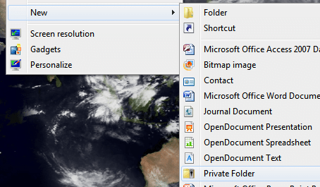 How to create private folder in windows 7
