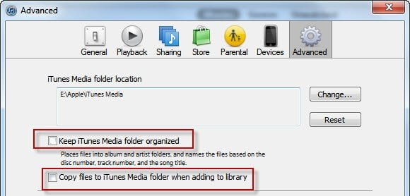 iTunes Settings for WHS