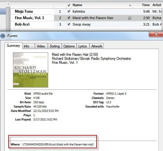 iTunes Sharing WHS Files