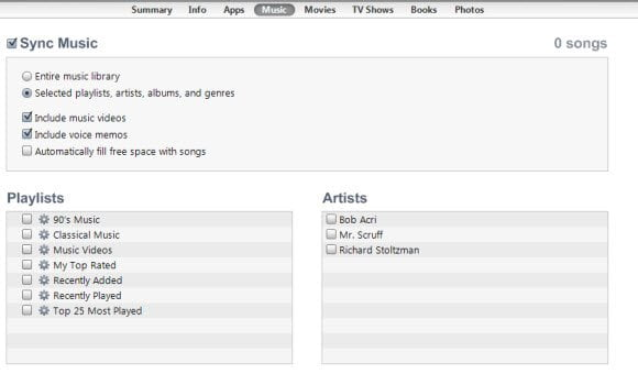 iTunes music import to iPad