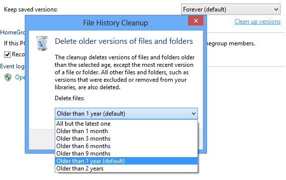 Manually Cleaning up Saved versions of File history Backup
