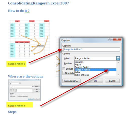 Setting caption and Label groups