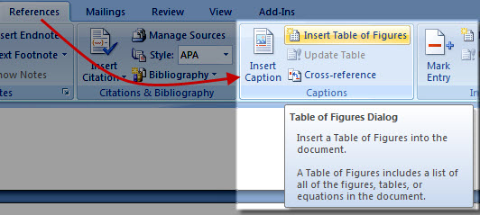 Table of figures in word