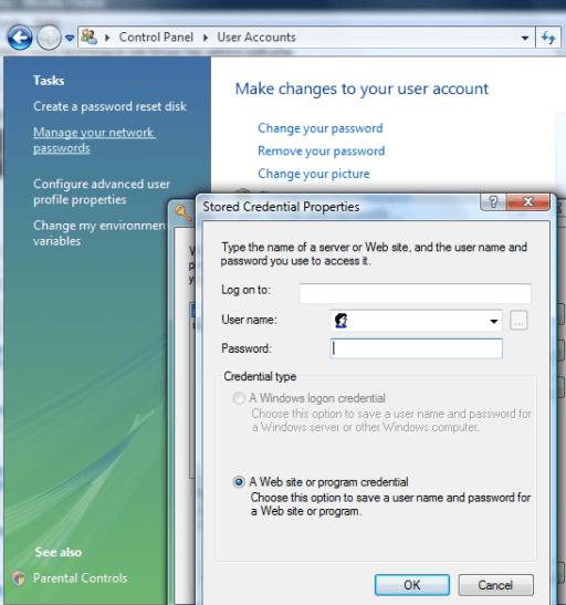 Vista Network Password manager