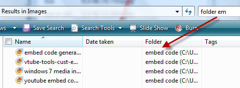 Vista Search : Displaying files of particular folder
