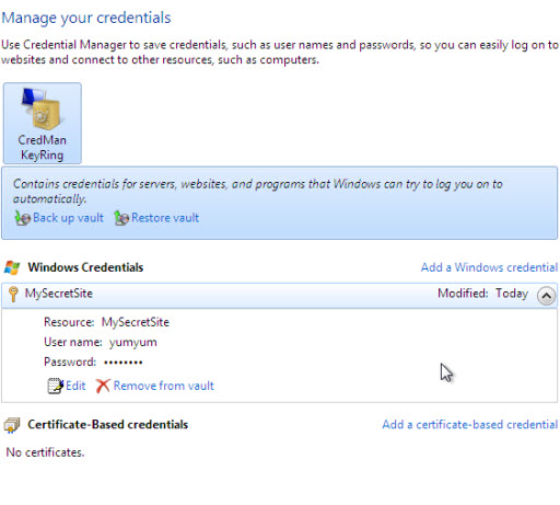 Windows 7 Credential management feature for centralized storage of username and password