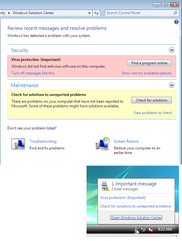 Windows 7 Solution Center and Notification