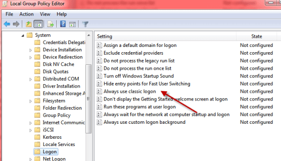 Windows 7 logon policy editor