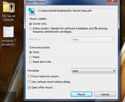 Windows 7 private folders