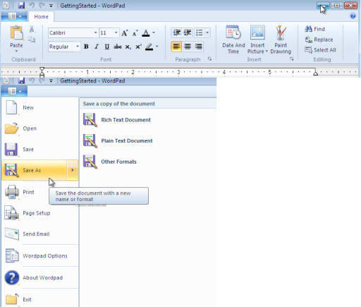 Windows 7 Features : Wordpad Ribbion