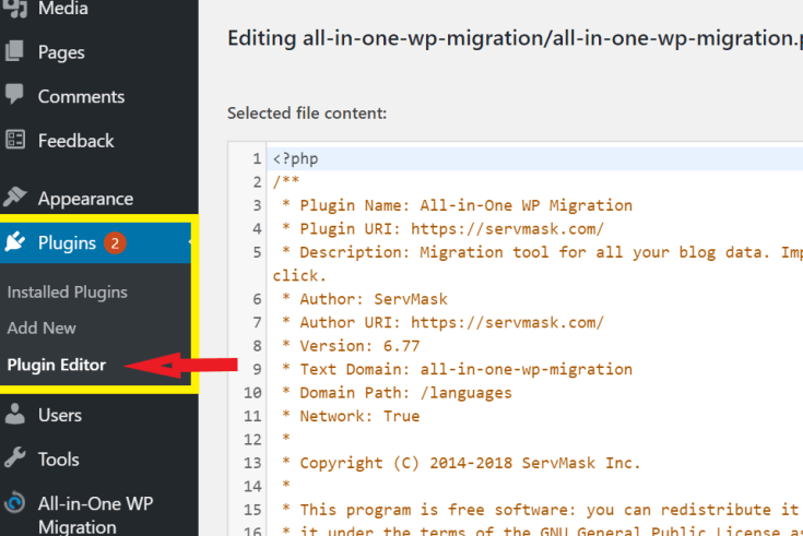 Increase the upload limit for All-in-One WP Migration Plugin