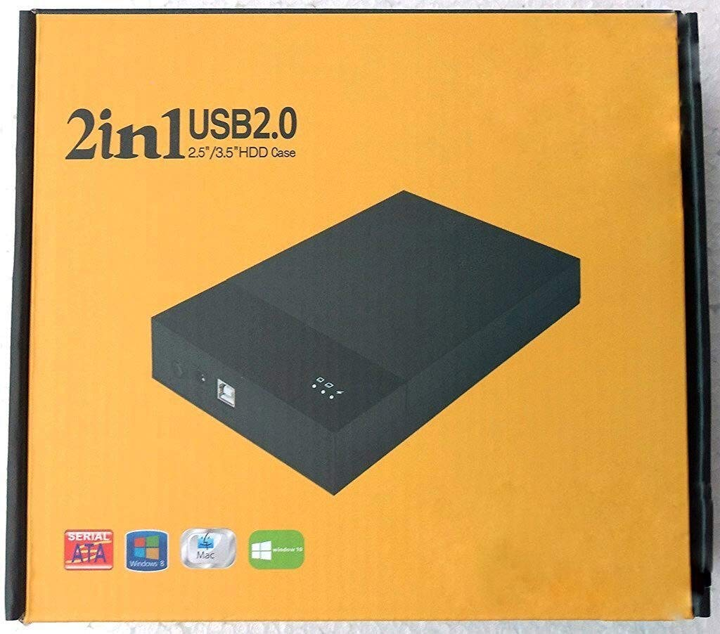 """Technotech 2 in 1 USB 2.0 External Hard Drive Casing for 2.5"""" & 3.5"""" Sata Hard Drives Dual 2.5 inch and 3.5 inch HDD Enclosure"""