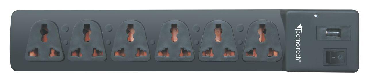 Technotech Spike Suppressor 6 Socket Extension Boards (1.5m)