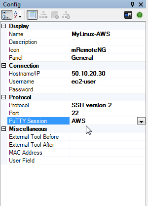 Opening SSH to AWS-hosted Linux servers via mRemoteNG