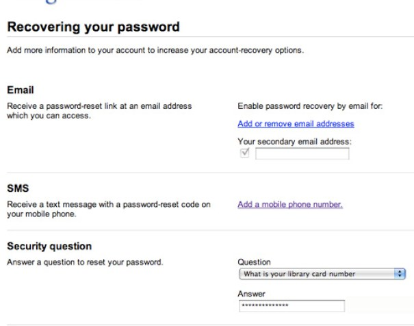 Google Account Password Recovery Option