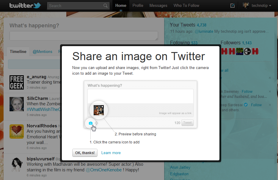 Upload Images Directly To Twitter