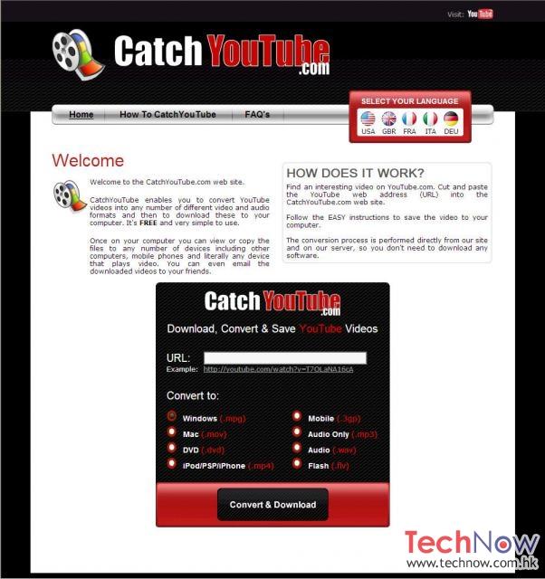 CatchYouTube - 免費YouTube轉換器 - TechNow 當代科技