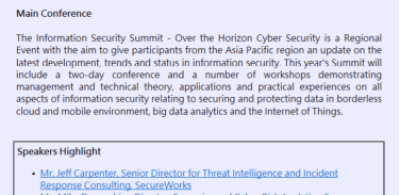 Information Security Summit – Over the Horizon Cyber Security