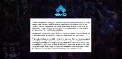 預定在線上舉行的「EVO Online」將會取消