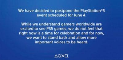 原定於6/5日公開的PlayStation 5發表會將延期