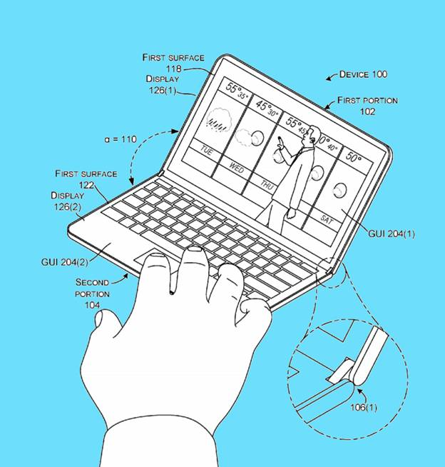 Patent image of Microsoft foldable smart phone angel view