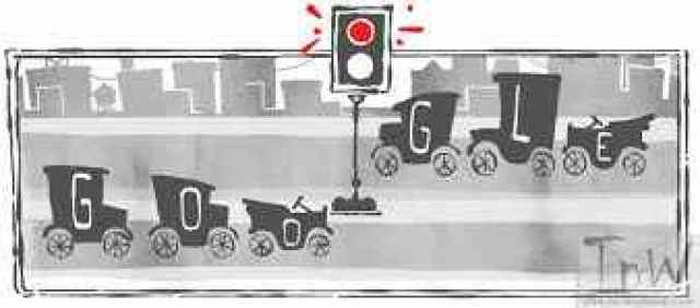 Google Doodle celebrates the installation of the first traffic light in the world