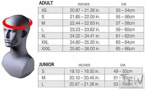 Helmet Size Chart. Credits motorbikecrazy