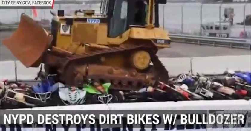 NYPD crushes seized illegal motorcycles, dirt bikes and ATVs
