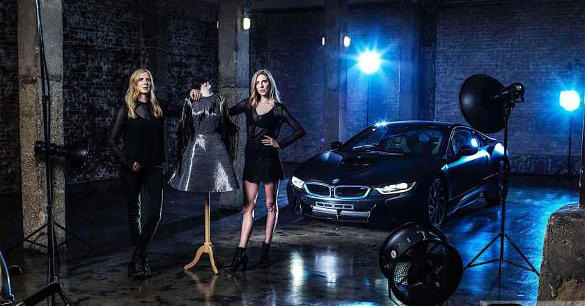 BMW's 'i' brand inspired Carbon fiber dress unveiled by Felder twins