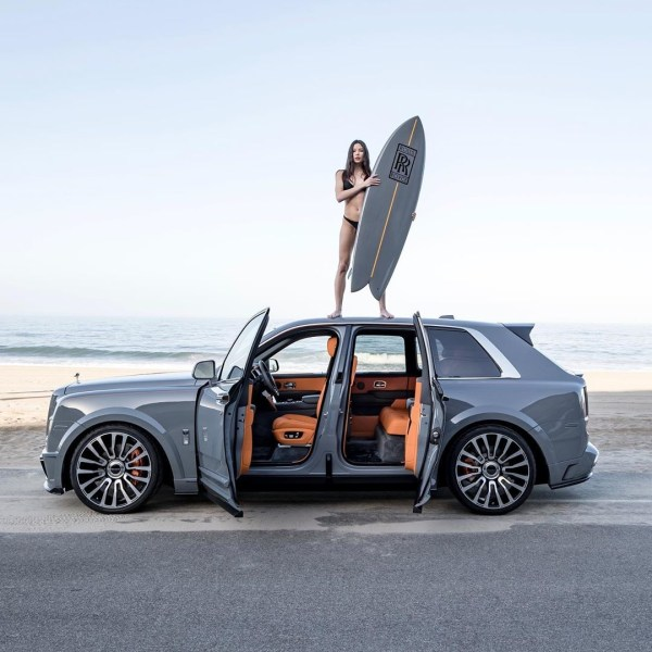 Mansory Rolls-Royce Cullinan with surfboard